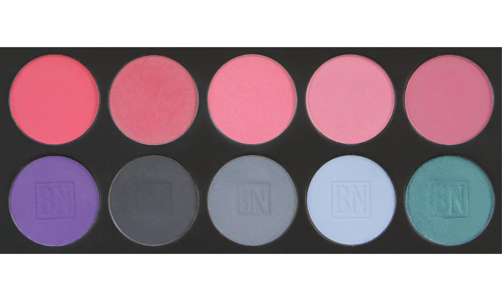 8 large well palette from  Ben Nye   Top row (blushes):  Indian Rose ,  Lilac Lace ,  Stormy Rose ,  Satin Rose ,  Precious Plum   Bottom row:  Royal Purple ,  Greystone ,  Blue Grey ,  Cinderella Blue ,  Peacock