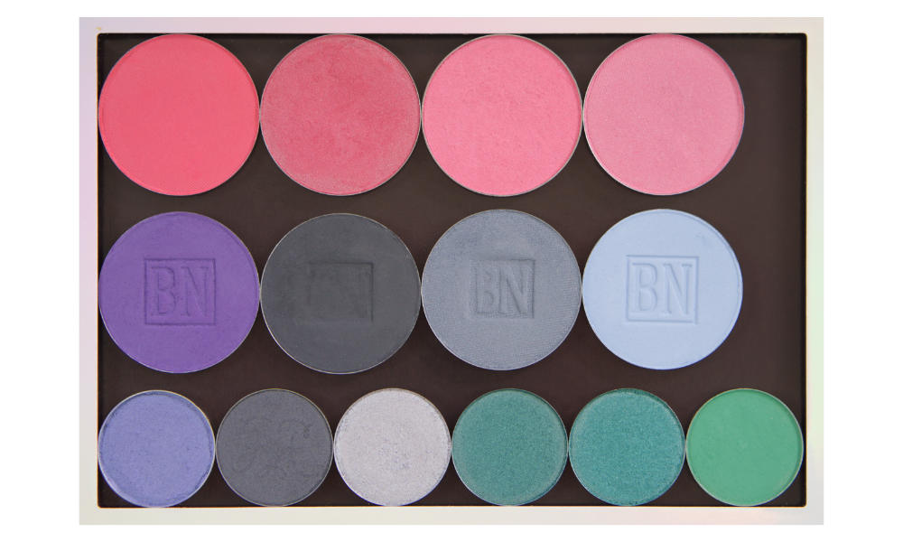 Freestyle palette from Salt New York in  French Grey , also available in  Black   Top row (blushes):  Indian Rose ,  Lilac Lace ,  Stormy Rose ,  Satin Rose   Middle row:  Royal Purple ,  Greystone ,  Blue Grey ,  Cinderella Blue   Bottom row:  Chit Chat ,  Trumpeter Koel ,  Beam Me Up ,  Slay-Farer ,  Tiny Tangerines ,  Dragonfly