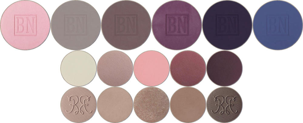 Top row: Misty Lilac, Lilac Grey, Lavender Dusk, Deep Violet, Indigo, Denim  Middle row: Sand Dollar, Unexpected, Say I Do, Vintage, Taboo  Bottom row: Sweet Dust Seriema, Friend Zone, Prom Night, Faux Fur, Blackpepper Jay