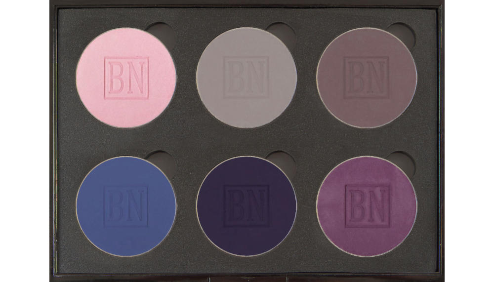 6 well palette from  Coastal Scents , similar palette also available from  eBay   Top row:  Misty Lilac ,  Lilac Grey ,  Lavender Dusk   Bottom row:  Denim ,  Indigo ,  Deep Violet