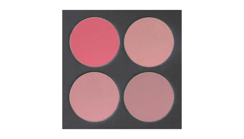 4 well palette from  Ben Nye , similar palette also available from  Makeup Mania   Top row:  Mauve ,  Tea Rose   Bottom row:  Misty Plum ,  Mauve Sparkle
