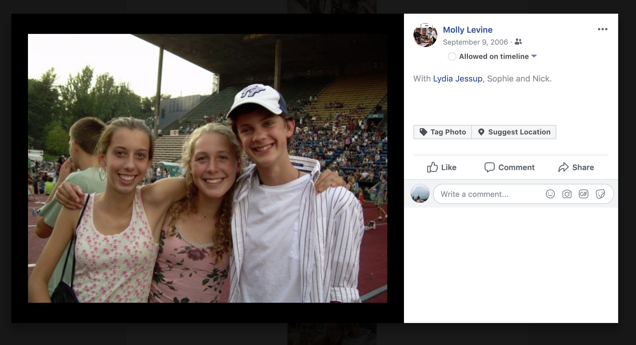 My fist tagged photo on Facebook. September 6, 2006.