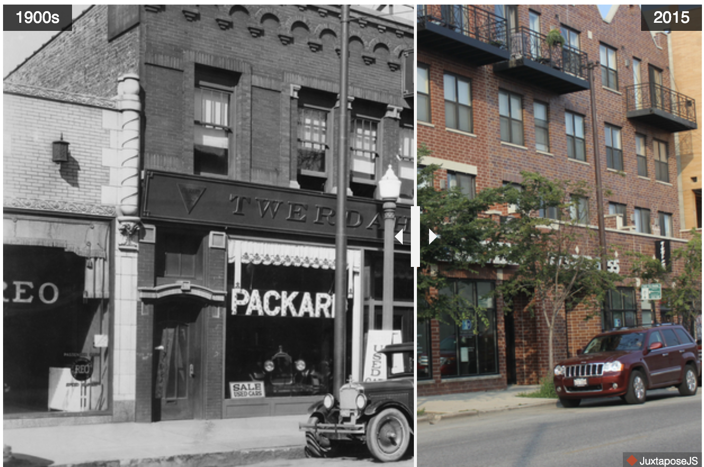 This is a before and after in a neighborhood in Chicago. More here:  https://www.dnainfo.com/chicago/20150803/logan-square/logan-squares-milwaukee-avenue-then-now-photos/