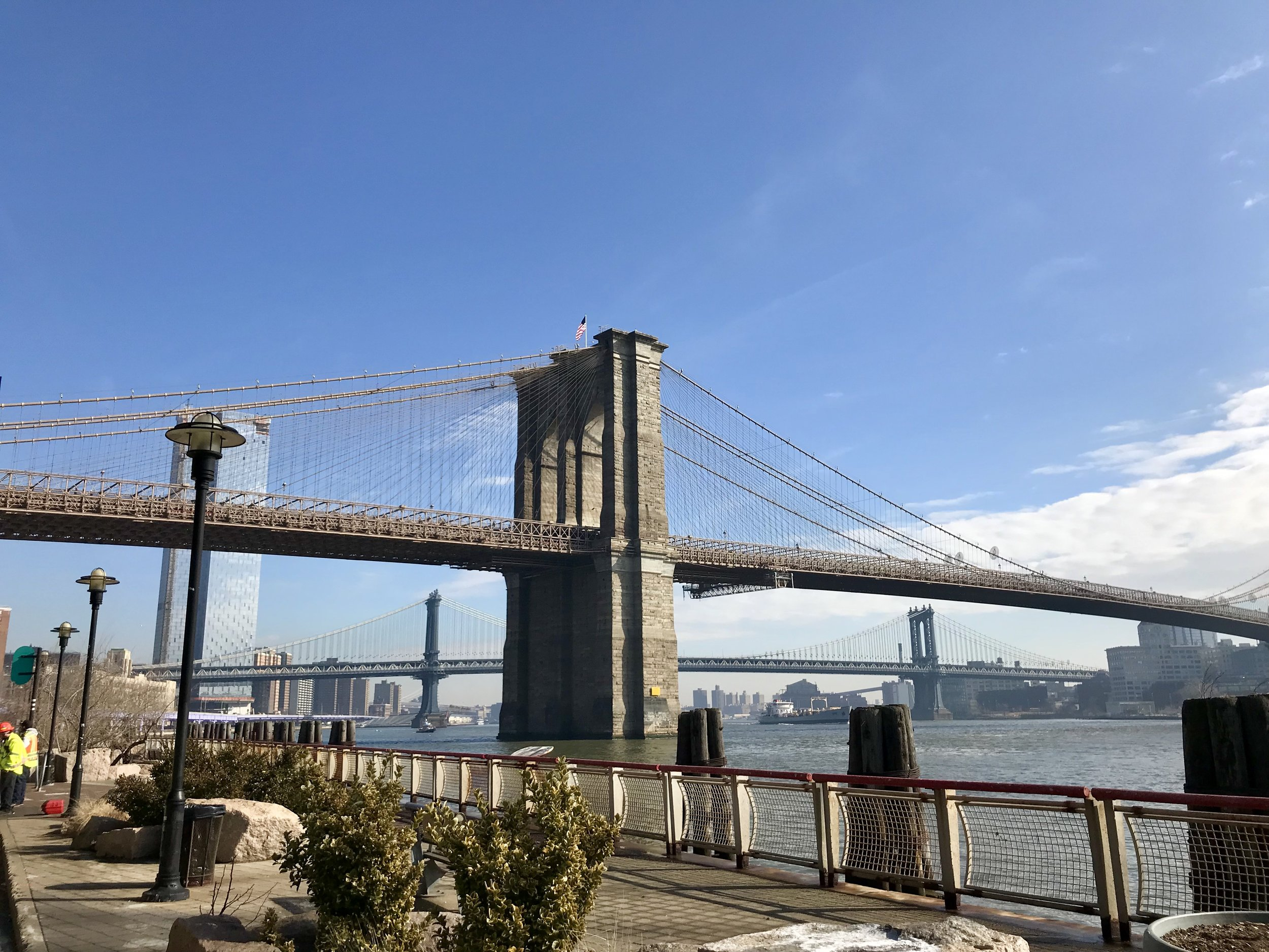 I took this photo of the Brooklyn Bridge in southern Manhattan.