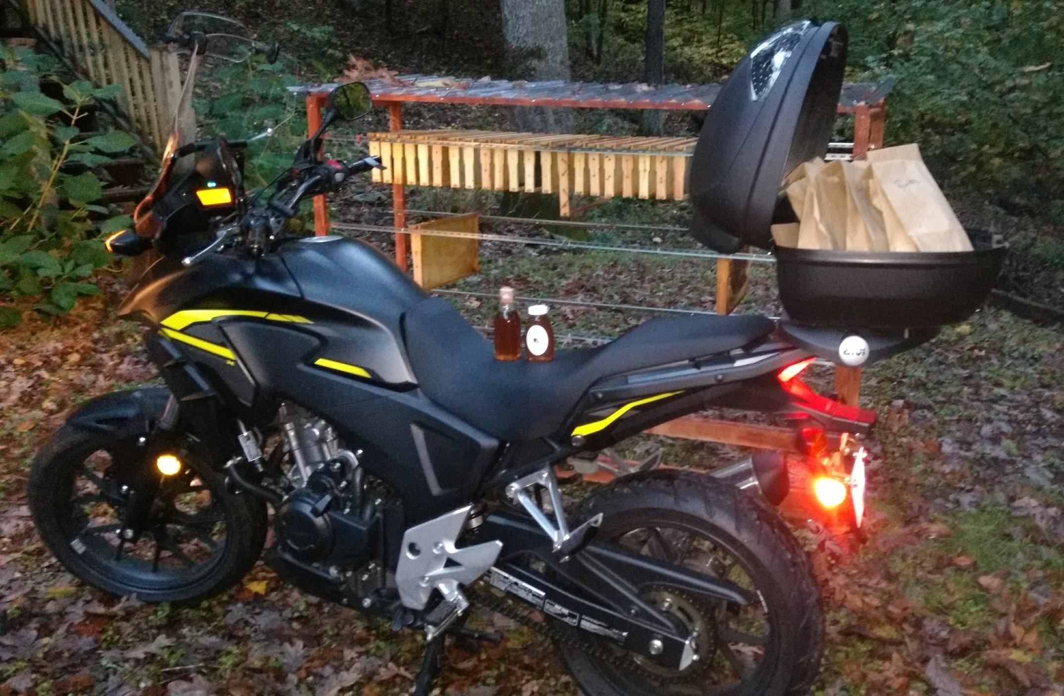 Delivering honey on my Honda CB500X motorcycle