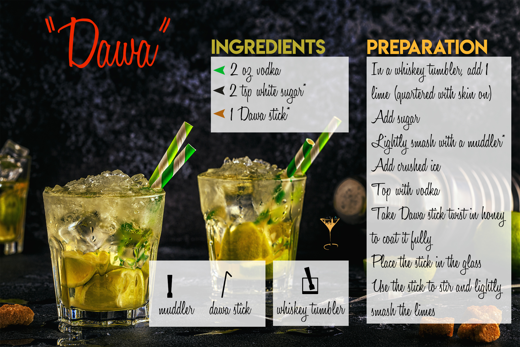 *Depending on taste preference.    *If you can't find a Dawa stick use a wooden honey stick dipped in 2 tbsp of honey.    *Muddle enough to release the lime juice but not hard enough to squeeze the oil out of the lime skin.