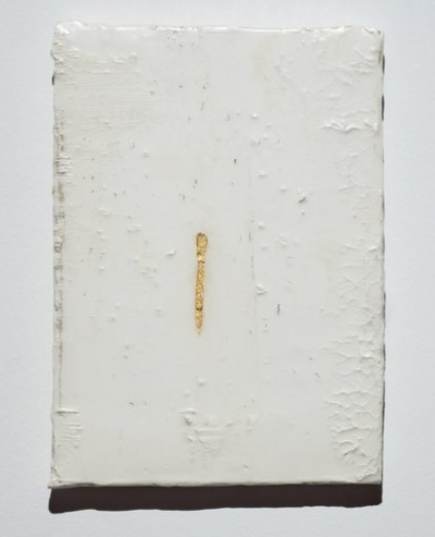 Ben Loong,  Vug ,2017, resinated drywall plaster and gold leaf on canvas 36 x 25 cm. Image courtesy of the artist.