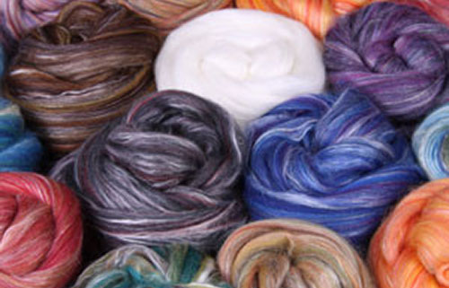 Ashford Wool/Silk Slivers - Merino and silk blend slivers — a huge colour range available.