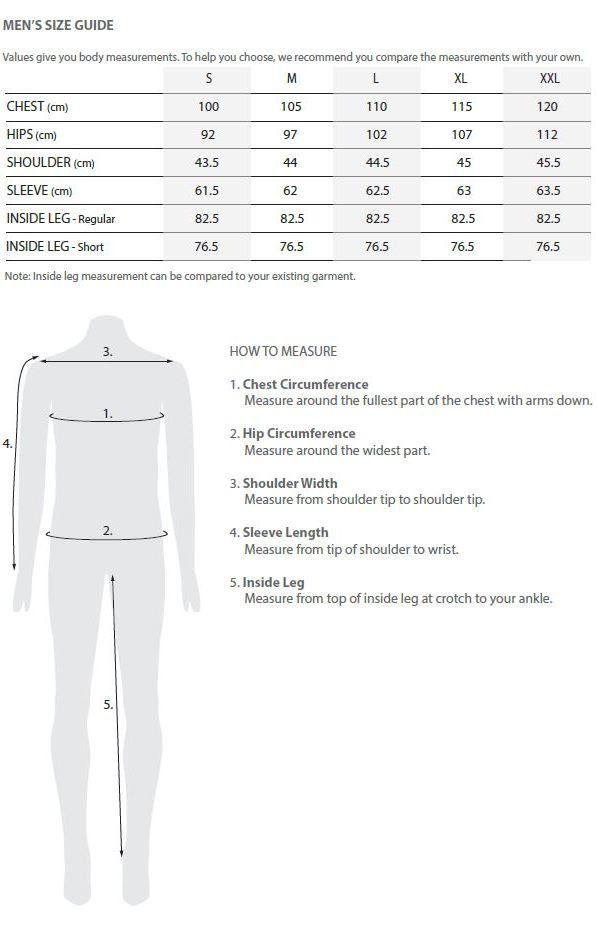 Tooralie men's size guide
