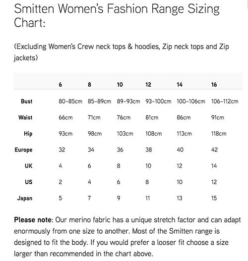 Merino Smitten size chart for merino wool clothing size chart