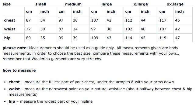 Woolerina men's sizing chart for measurements.