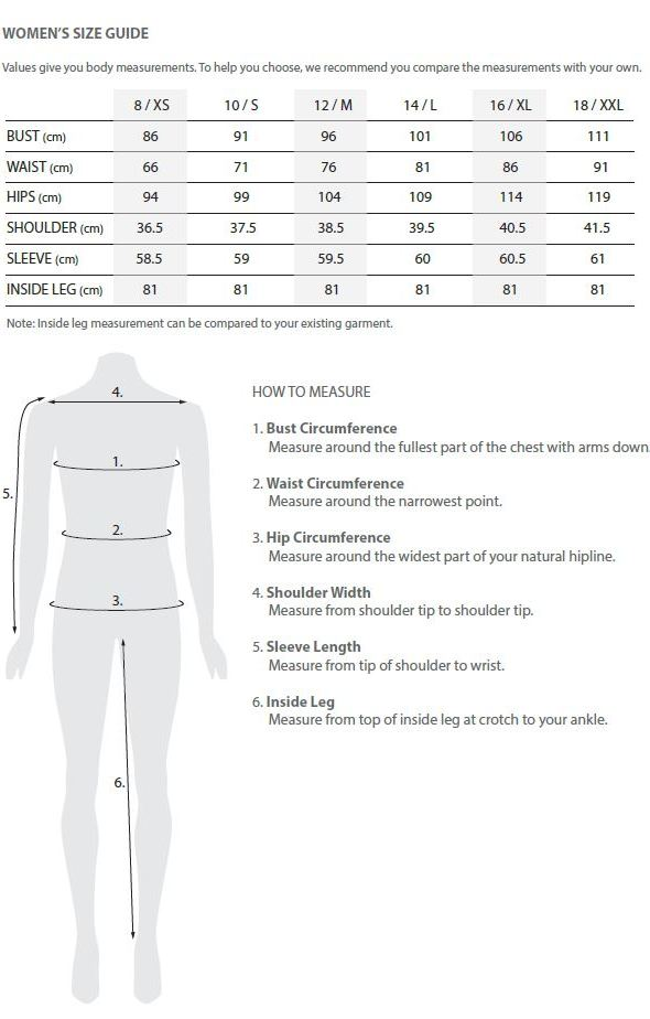 Toorallie price guide for women's clothing.
