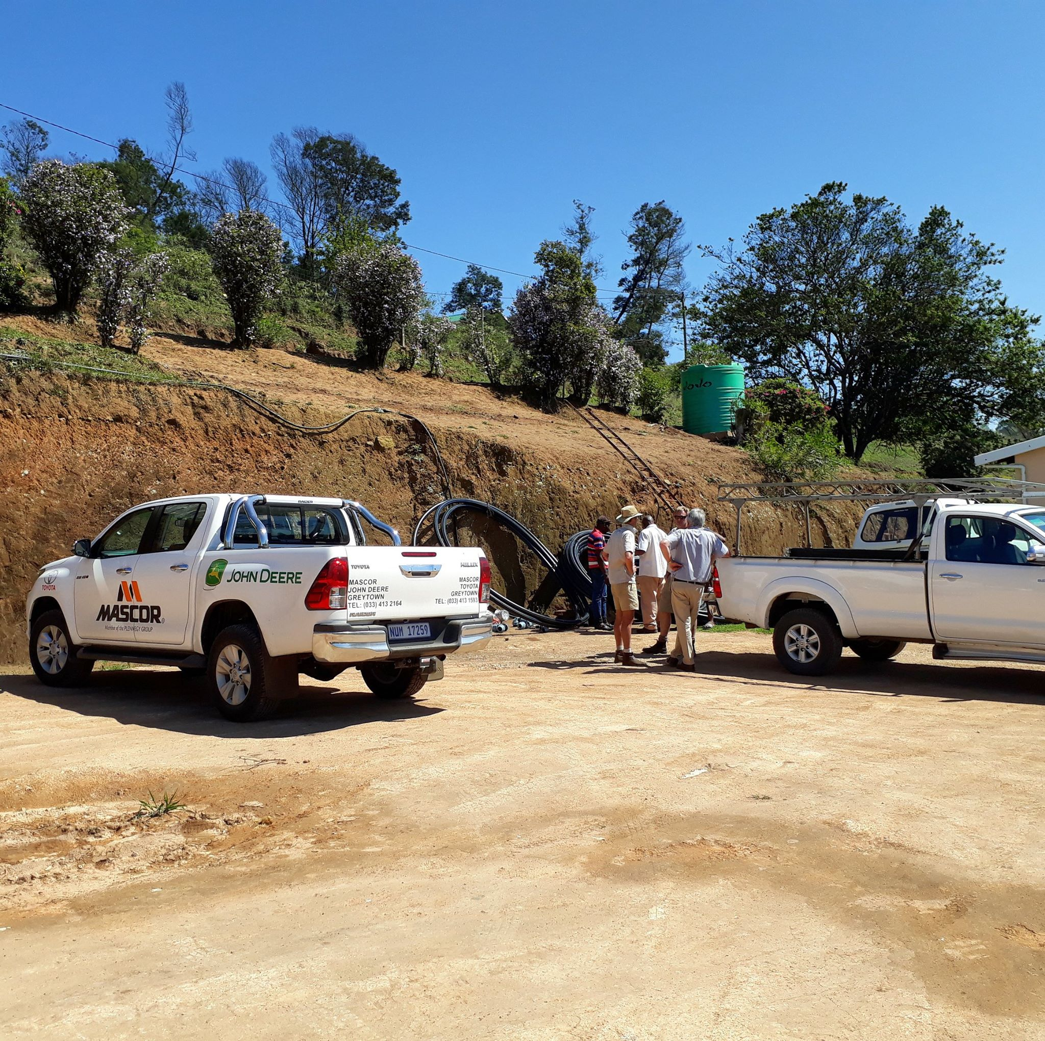 The fantastic Toyota Hilux, kindly sponsored by  #Mascor , being put to good use on site in Hlutankungu, Highflats.
