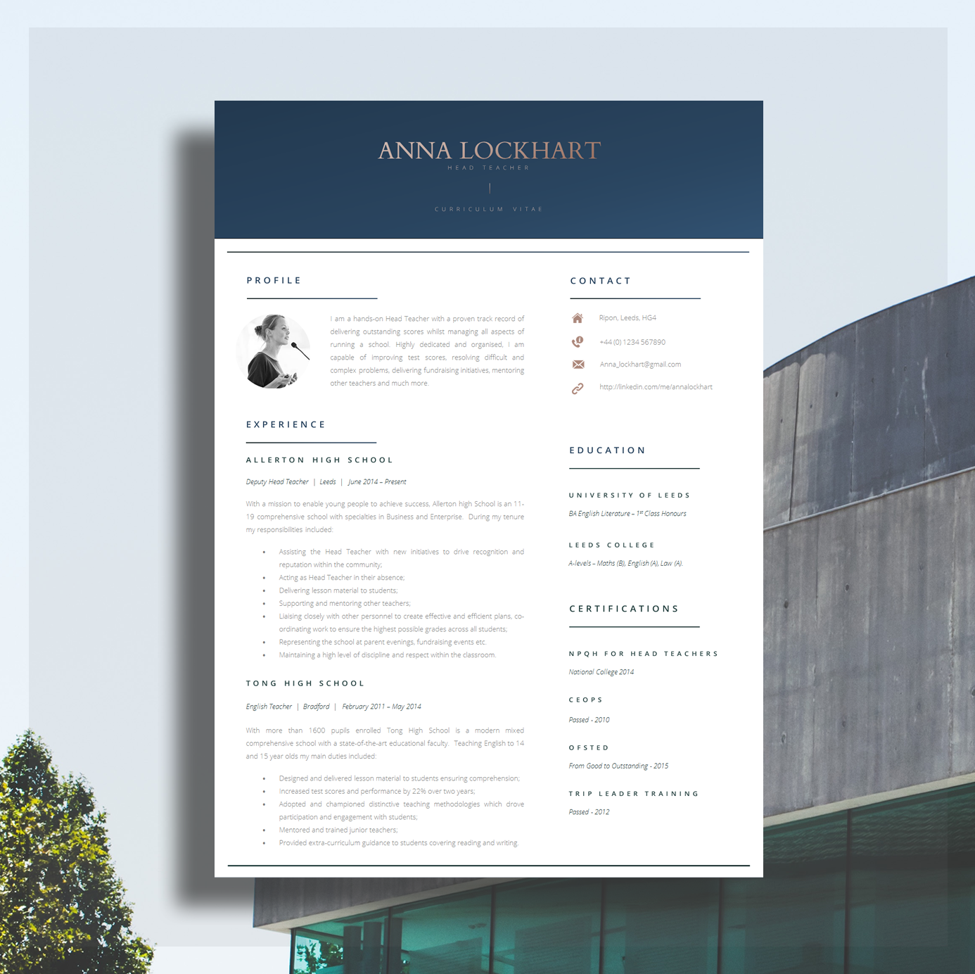 Download this Teacher Resume Template Here.
