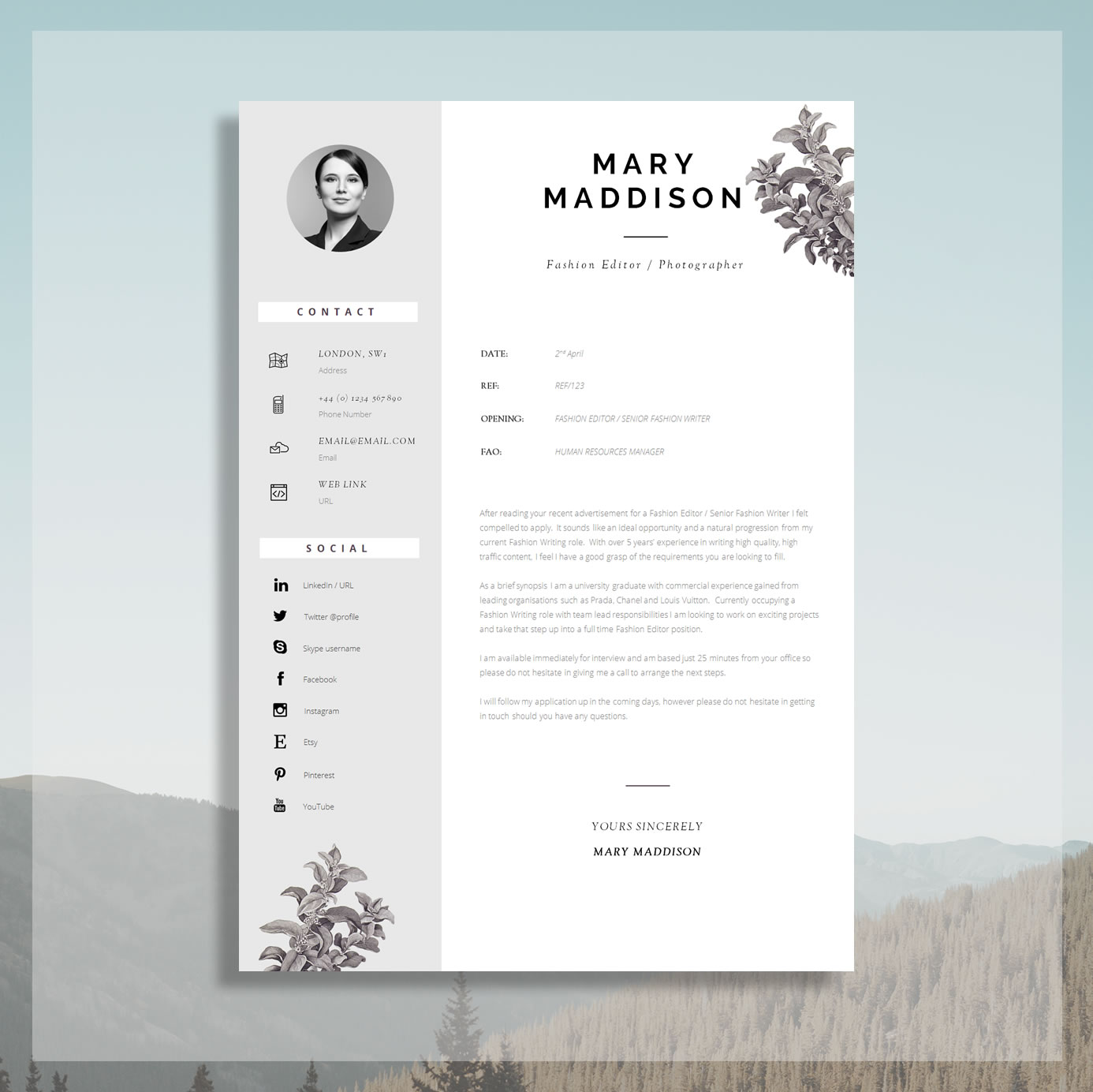 Professional Cv Design For Word Cover Letter Resume Advice Instant Download Mac Or Pc Resume Design Locke The Career Improvement Club