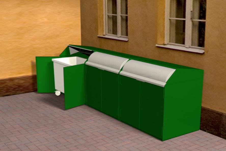 Pieni piha? - Testien perusteella TOKSET FIRE SAFE jäteastiasuoja voidaan sijoittaa, aivan kiinteistön seinän viereen, mikä mahdollistaa joustavan jätepisteen sijoittelun myös pienissä pihoissa.