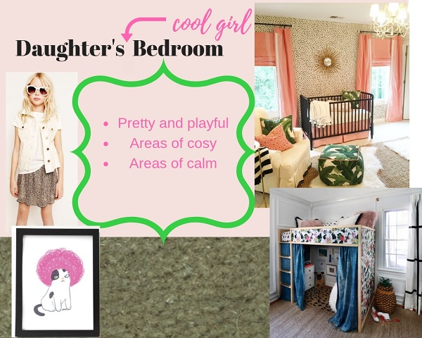 The mood board cements the fun, playful and pretty vibe in my mind. Ignore the cot!