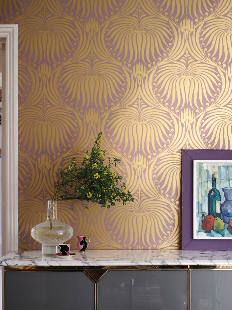 Luxurious looks: metallic touches for  Farrow & Ball 's Lotus design.