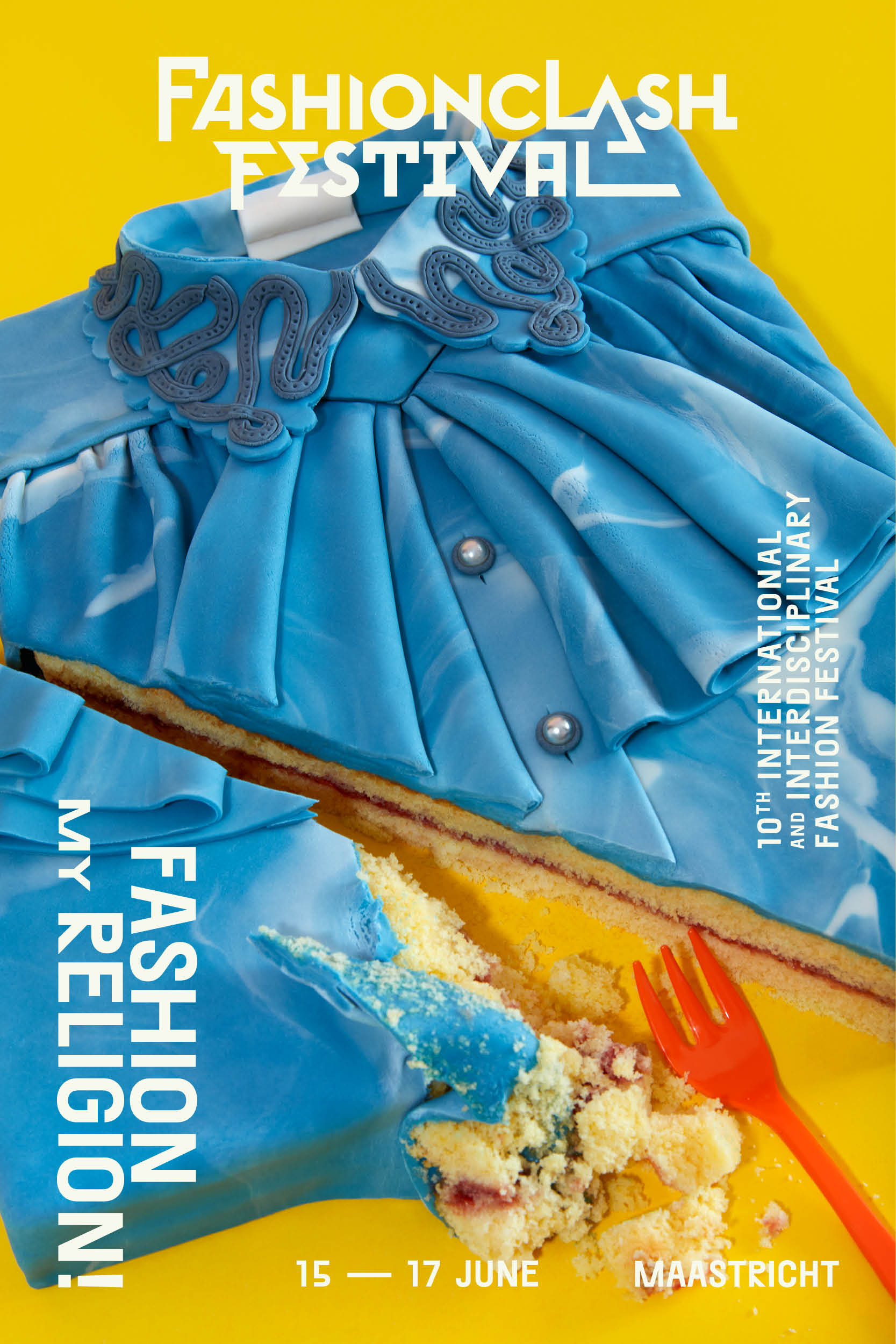 Campagne: FASHIONCLASH in collaboration with Fashion Collective Das Leben am Haverkamp. Photo:Lonneke van der Palen | Graphic Design:Studio Noto.Cakes based on favorite garments (among others of FASHIONCLASH Founders Nawie Kuiper, Branko Popovic and Laurens Hamacher)