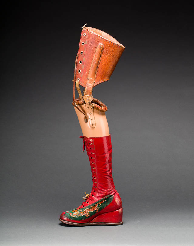 Prosthetic leg with leather boot. Museo Frida Kahlo. Photograph Javier Hinojosa. © Diego Riviera and Frida Kahlo Archives, Banco de México, Fiduciary of the Trust of the Diego Riviera and Frida Kahlo Museums
