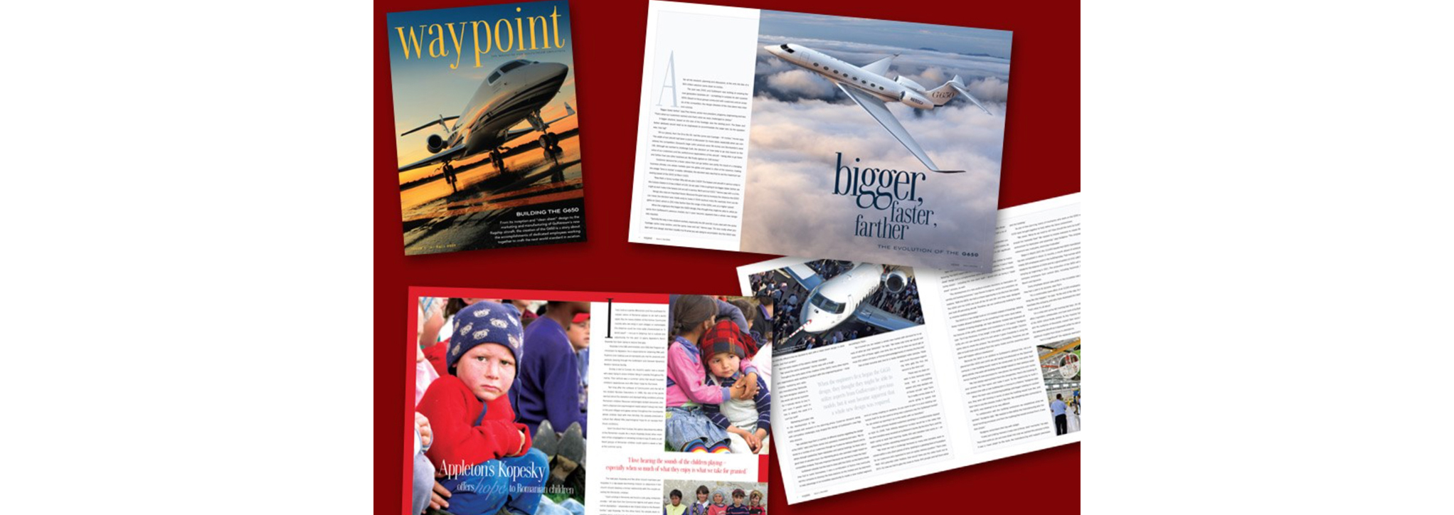 Cover and spread for Gulfstream's Waypoint magazine