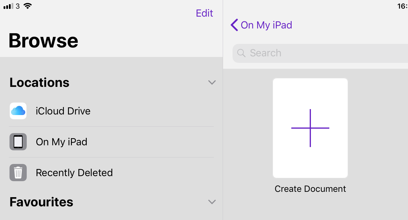 To create a new project, tap the Create Document button in the document browser -