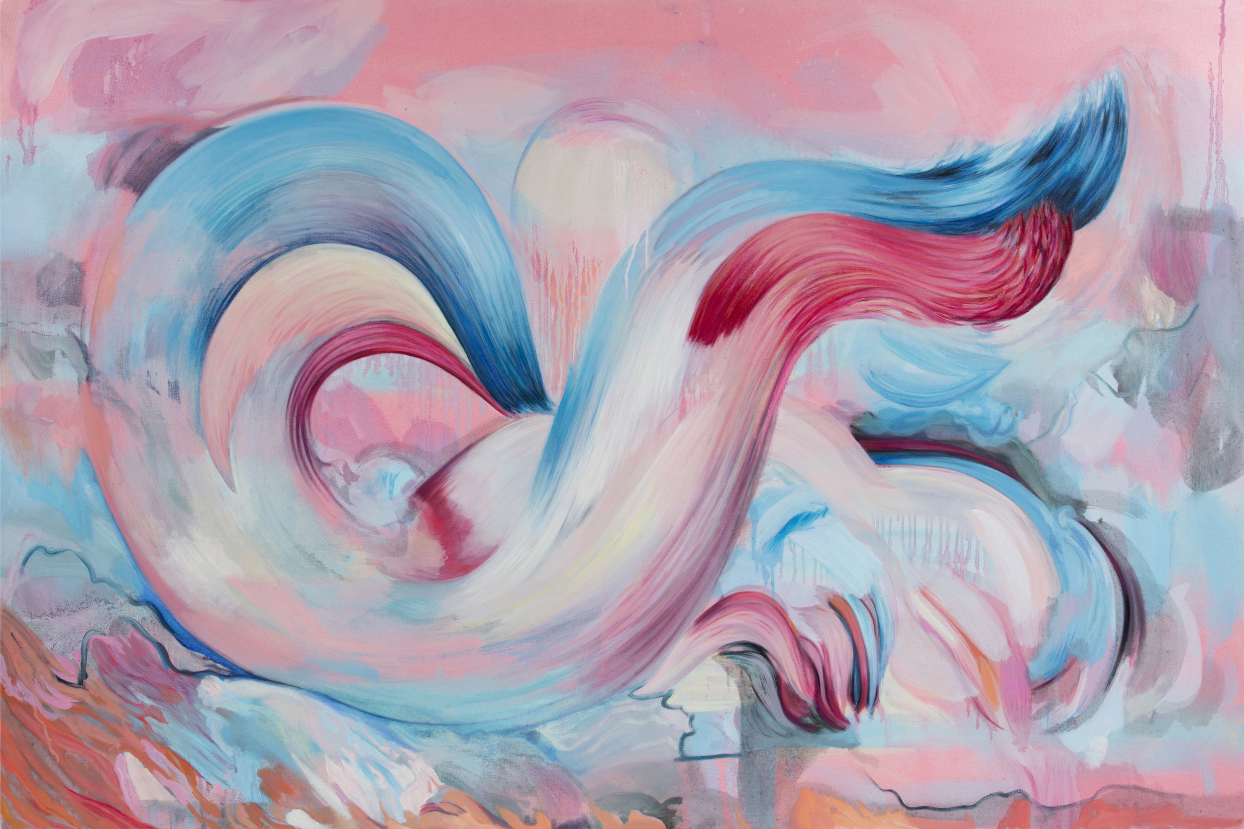 'Pink Blue Pink Blue Pink', Oil on Canvas, 100x 150cm 2019