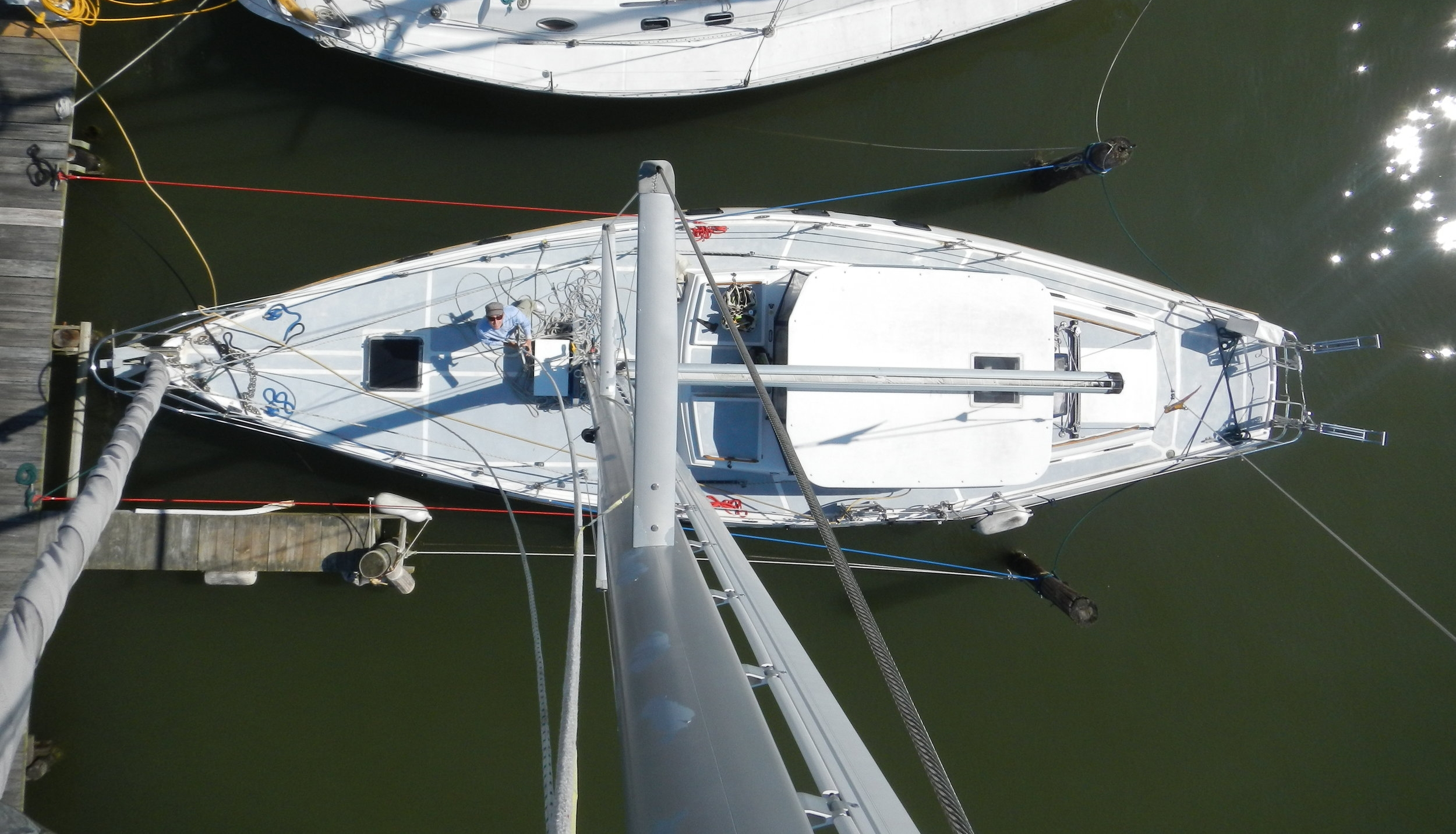 This captain sails with new crew often, so she's color-coded her dock lines to facilitate explaining how they can help.
