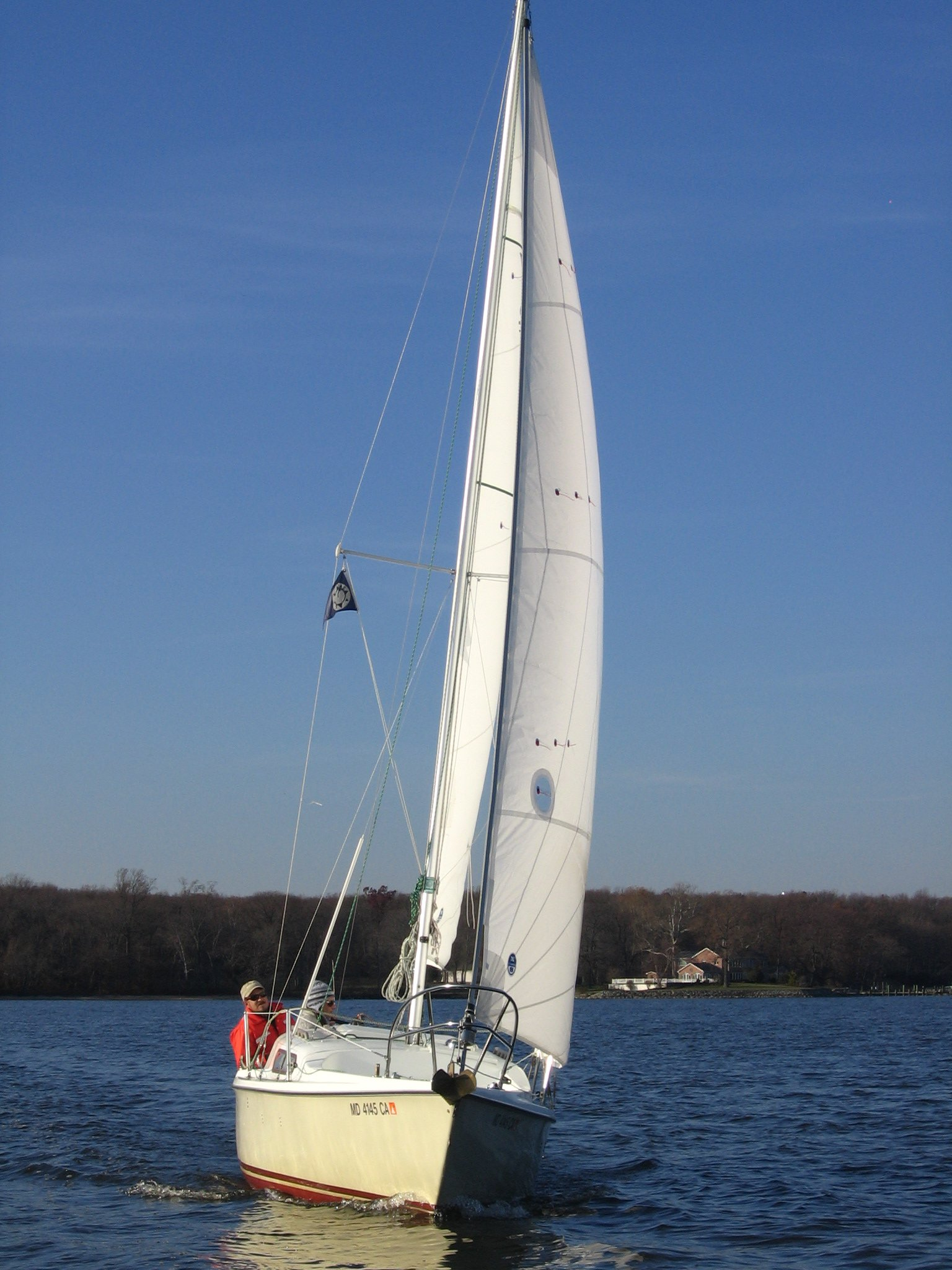 "A chilly sail on ""Whimsey"", our 1971 Venture 22."