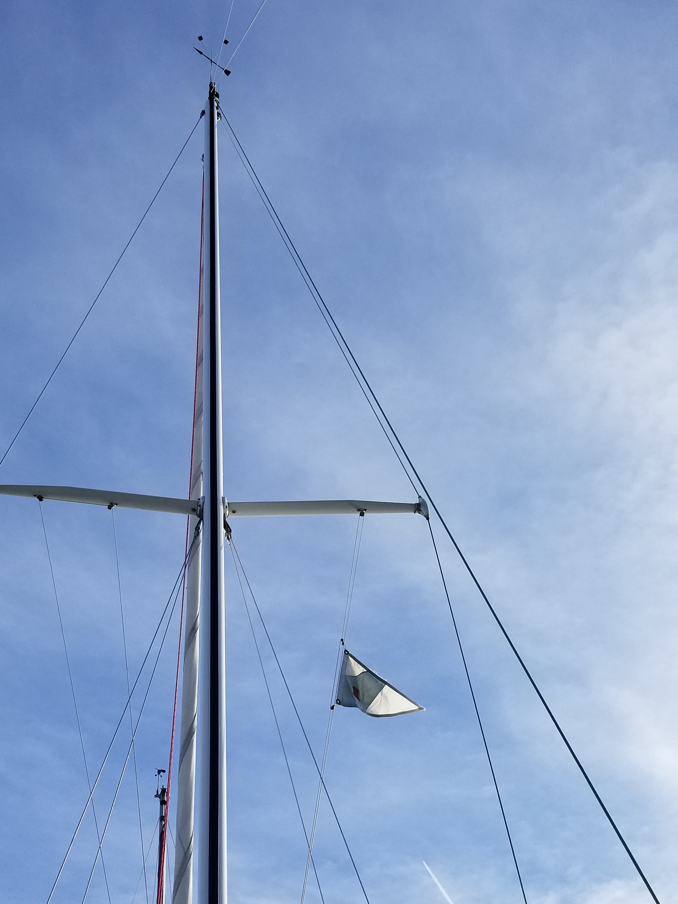 I hoisted our Hances Point Yacht Club burgee too. I'd like to leave it up all the time, but the racer in me sees the turbulence it makes and takes it down when sailing.