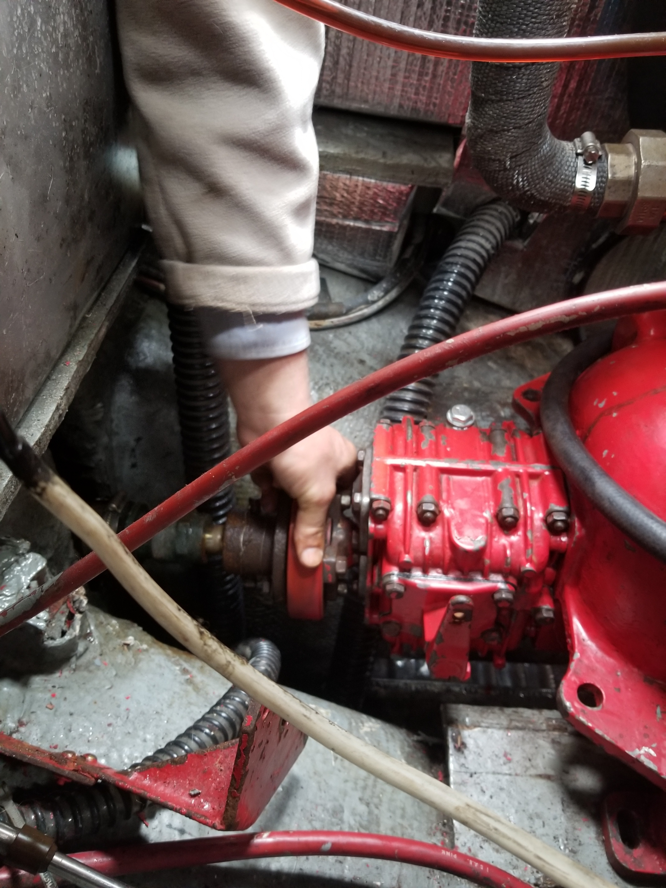 Beginning to connect the shaft coupling to the drive saver.