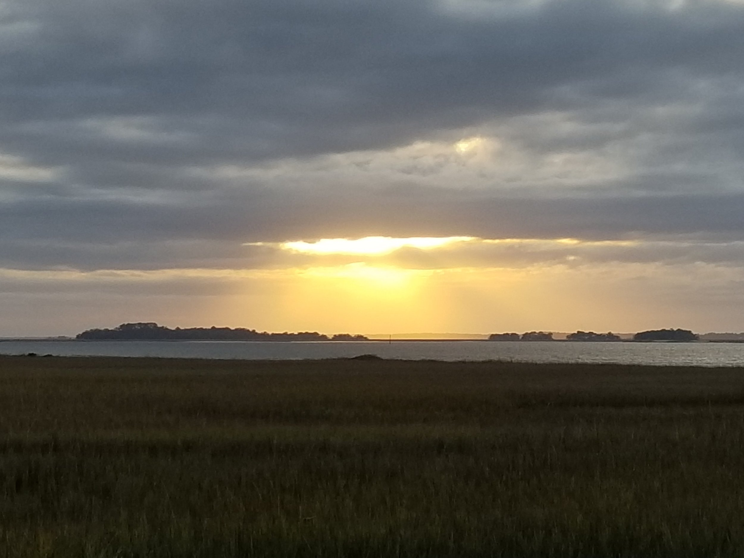 Sunset, looking west from Marsh Landing, Sapelo Island, GA.