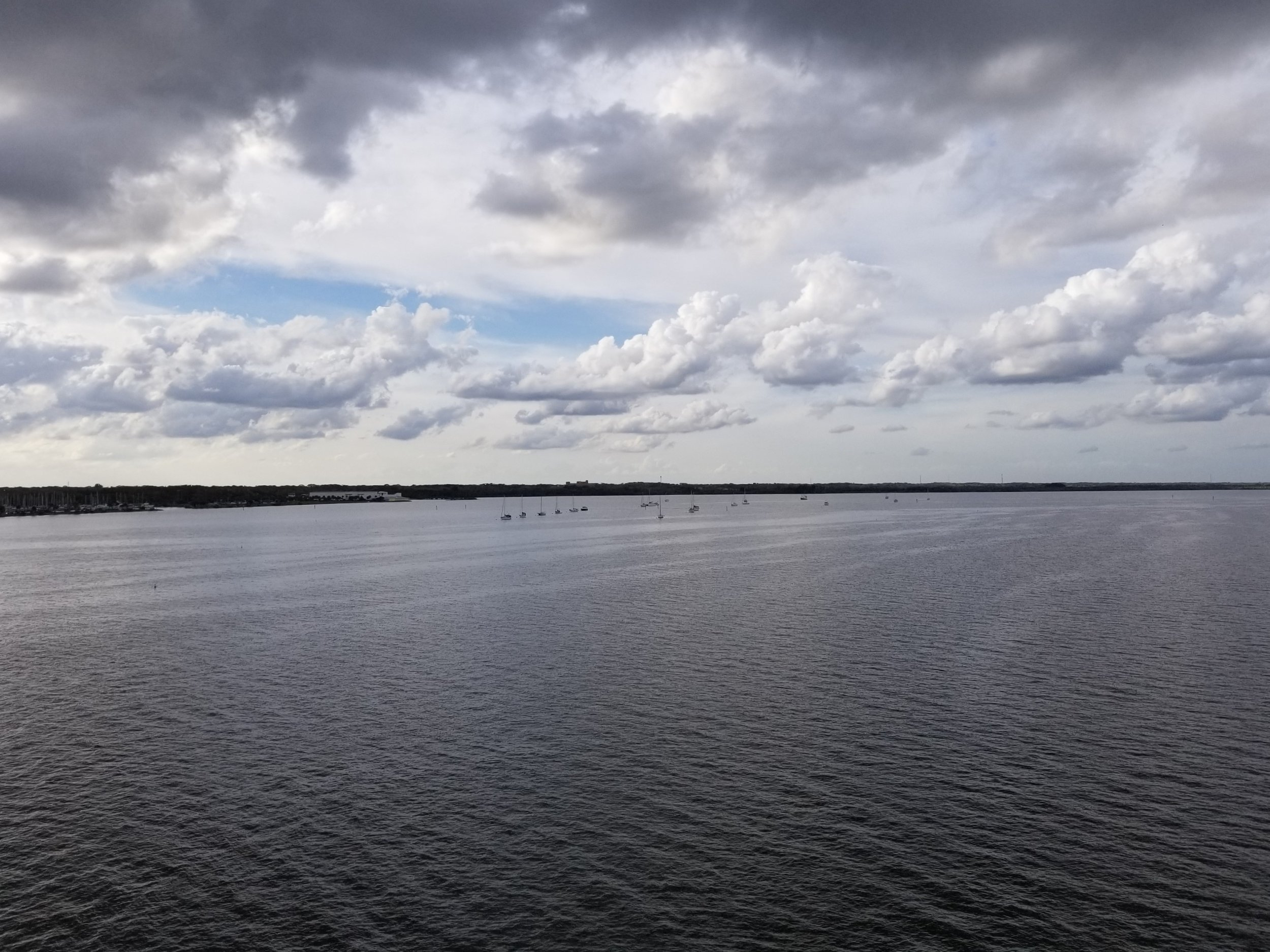 To the northwest, the Titusville Marina mooring field.