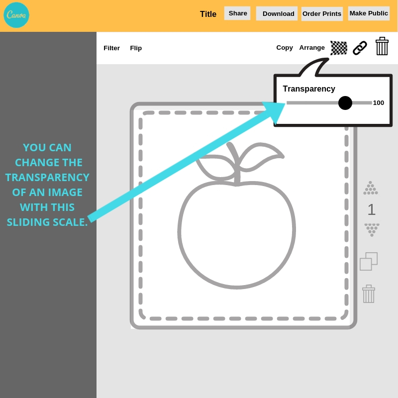 How to change the transparency of an image in Canva.