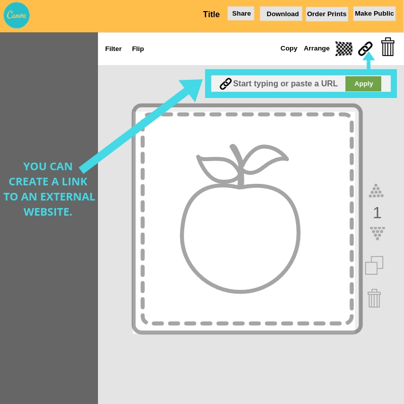 How to create a link to an external website while editing an image in Canva.