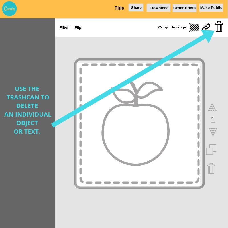 Use the trashcan icon to delete an  individual item or text in Canva when editing an image.