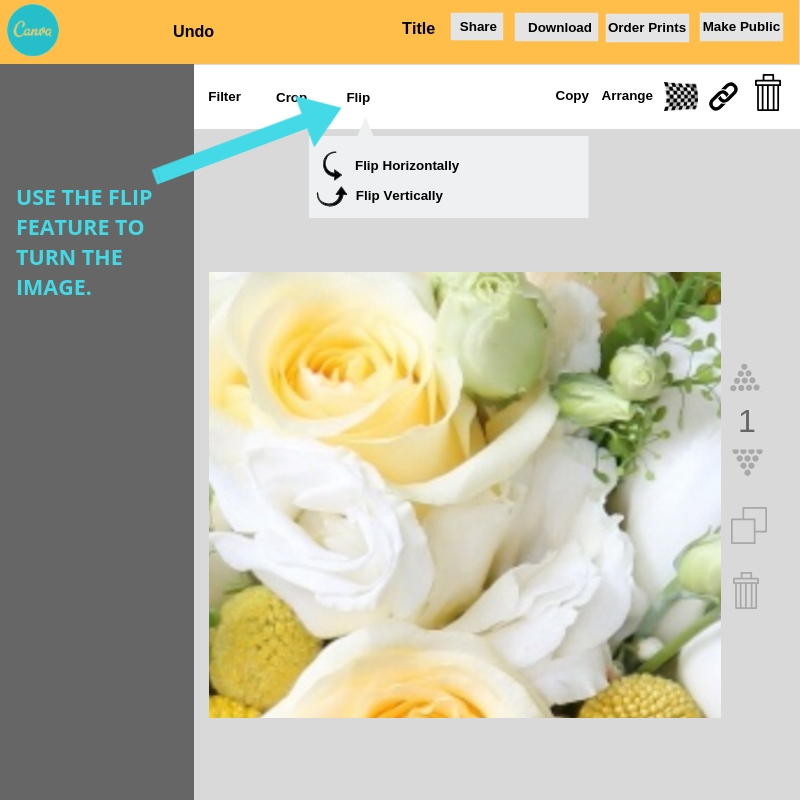 How to flip images horizontally and vertically in Canva.