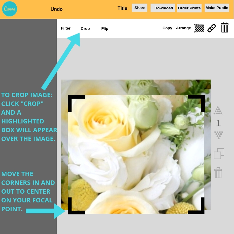 How to crop an image in Canva.