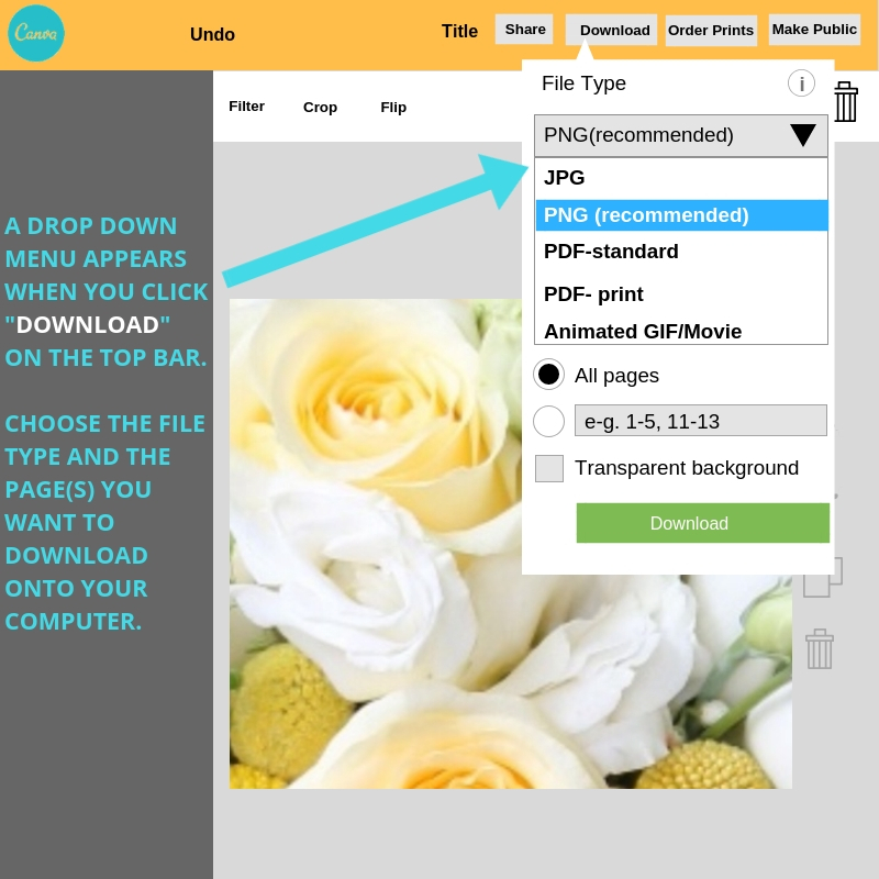 How to download your edited images out of Canva.