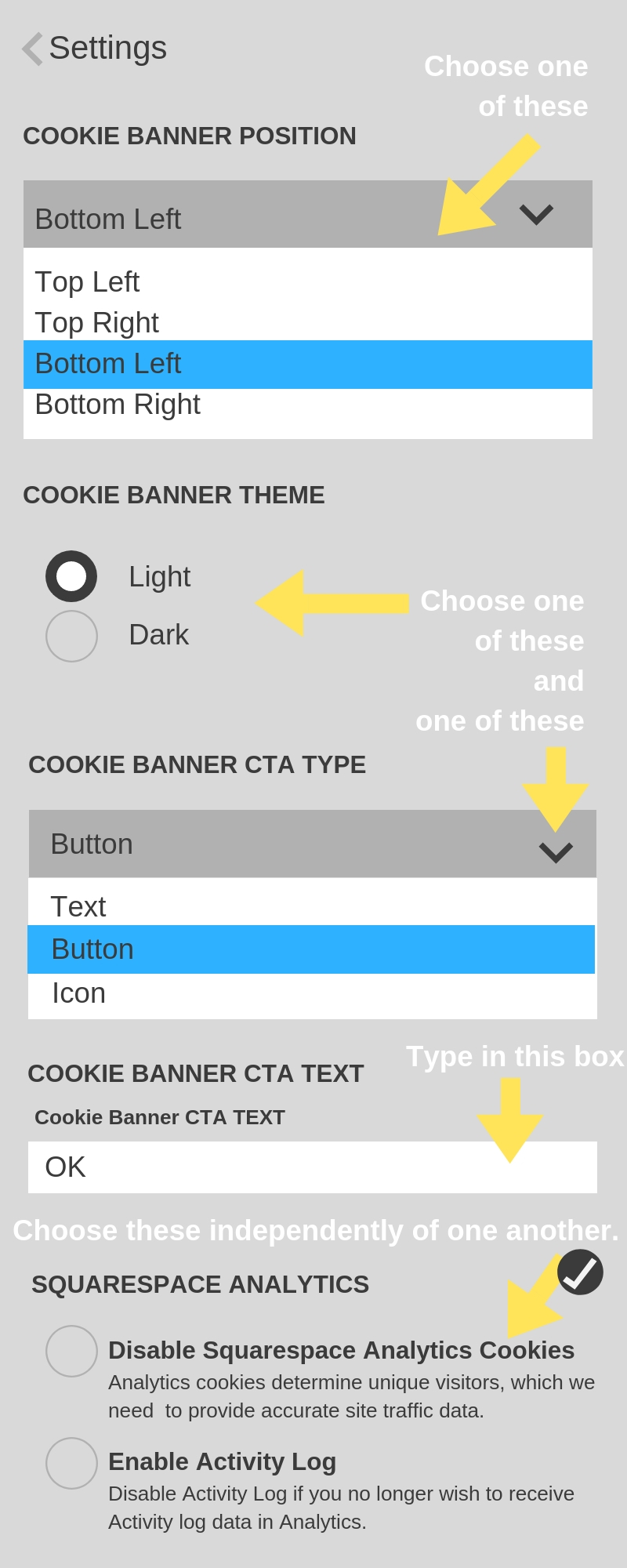 How to finish enabling a cookie banner on a Squarespace website.