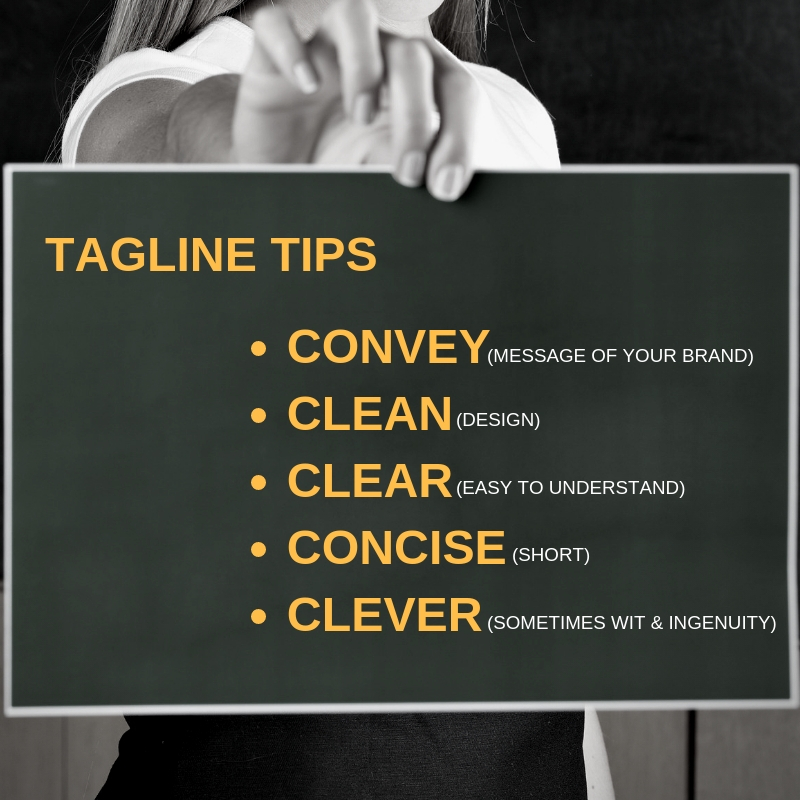 Tagline tips for branding a business from Less Stress Design.