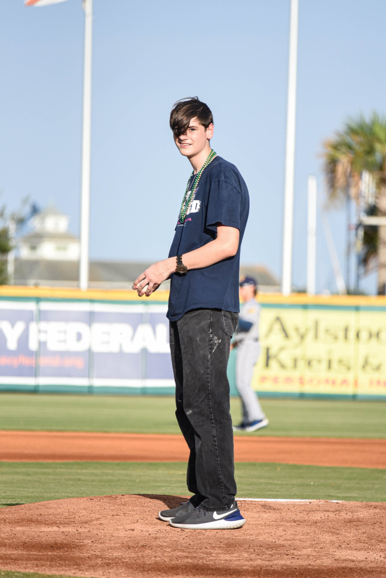 One our kiddos, John, chosen to throw the first pitch.   ©Daniel Venn