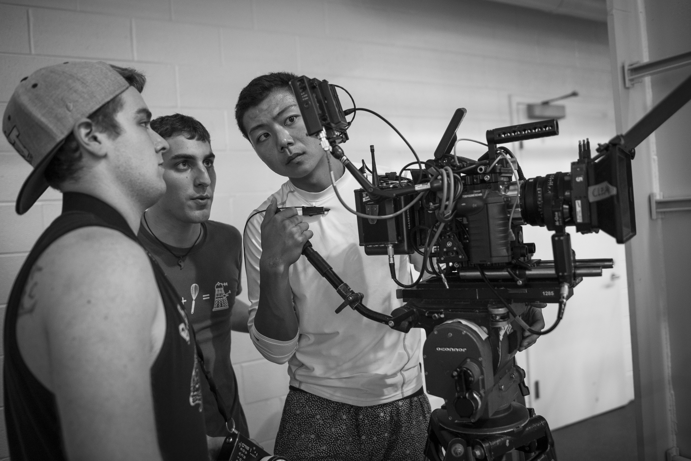Steven Jacob Russell (1st AC), Brian Blum (Director), and Hamilton Yu (DP).