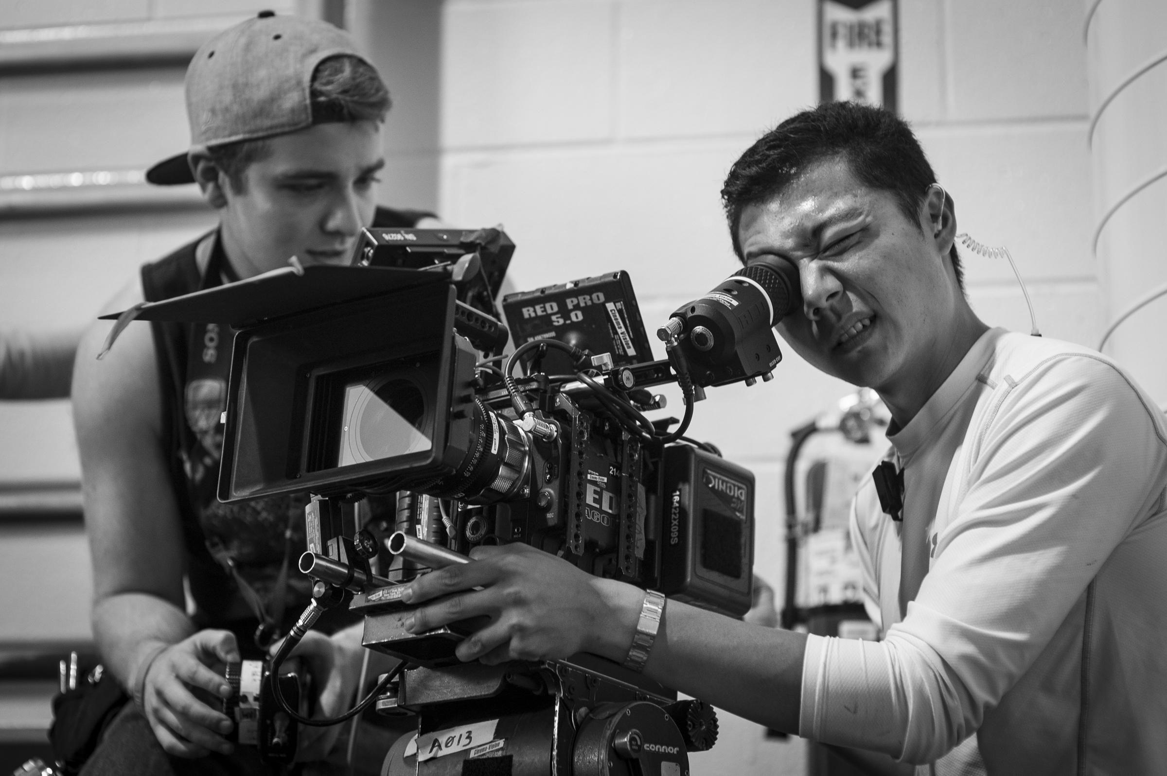 Steven Jacob Russell (1st AC) and Hamilton Yu (DP) framing up.