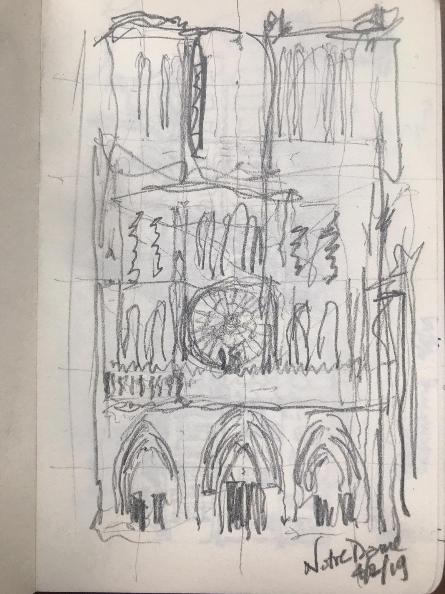 quick gesture sketch, Notre Dame