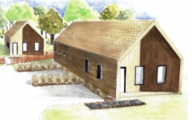 Rendering of 2 student designed Habitat for Humanity homes, Middlebury, Vermont. Image from Middlebury College