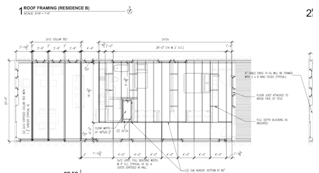 Student plan for roof framing of one of the Habitat for Humanity homes. Image from Middlebury College video.