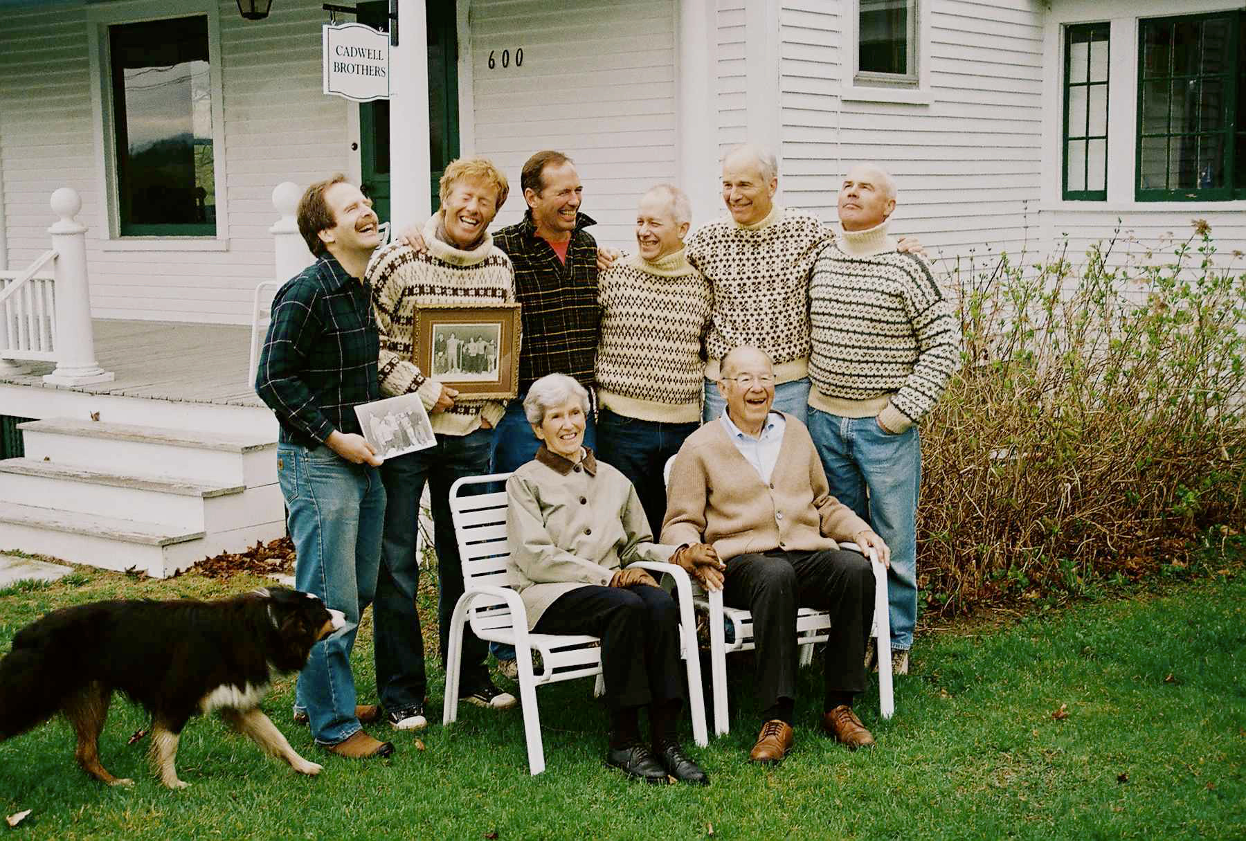 Cadwell Brothers (wearing sweaters and shirts made by their mother), with their Parents, circa 2005