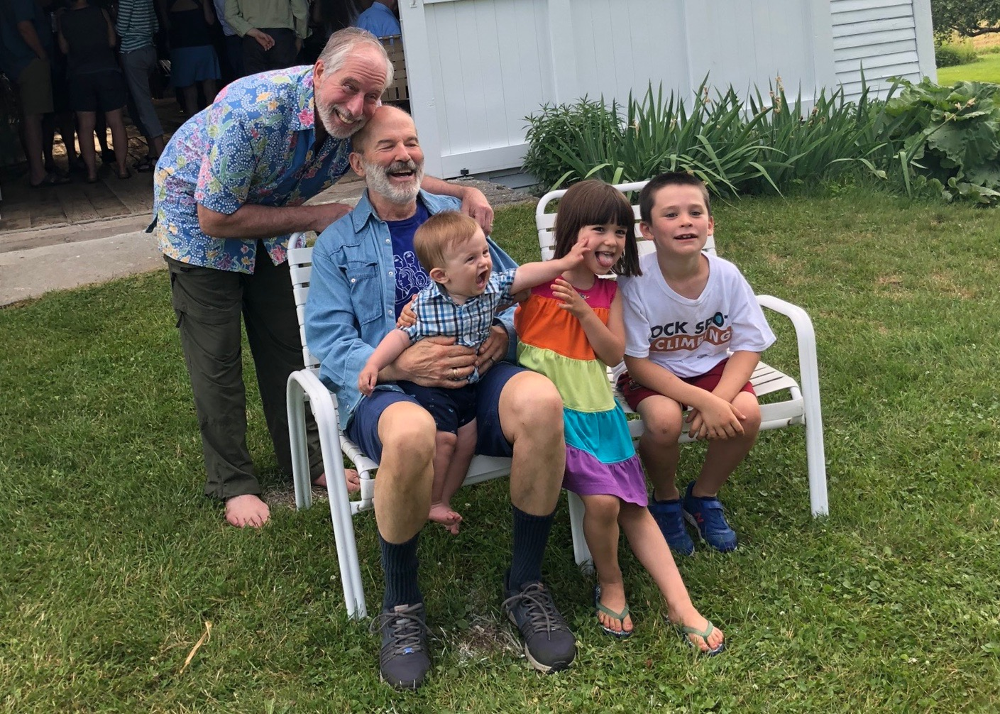 Steve and Joe with our grandchildren, July, 2019