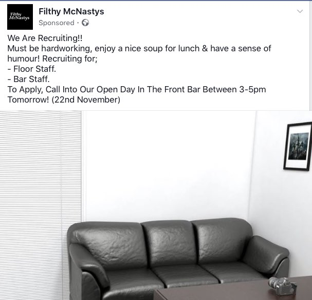 A screenshot of the job posting, taken from Filthy McNastys' Facebook page 22/11/2017